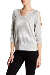 Bobeau Long Sleeve Cold Shoulder Stripe Shirt Petite Gray