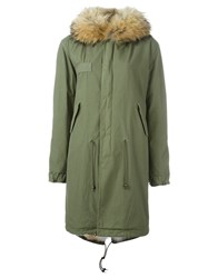 Mr And Mrs Italy Raccoon Coyote Fur Lined Parka Green