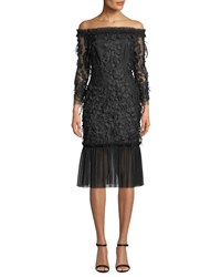 Milly Off The Shoulder Embroidery And Feather Dress Black