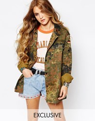 Reclaimed Vintage Oversized Military Festival Jacket In Camo Multi