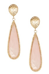 Rivka Friedman 18K Gold Clad Elongated Faceted Rose Quartz Filigree Dangle Earrings Pink
