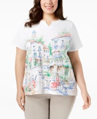 Alfred Dunner Plus Size Cafe Scenic Graphic T Shirt Multi
