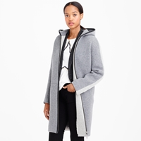 J.Crew Petite Stadium Cloth Hooded Zip Coat In Colorblock