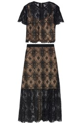 Catherine Deane Giovanna Guipure Lace Blouse And Maxi Skirt Set Black