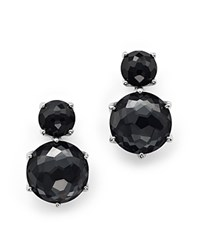 Ippolita Sterling Silver Rock Candy 2 Stone Post Earrings In Black Onyx And Hematite Gray Silver
