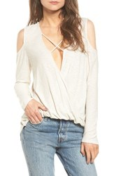 Michelle By Comune Women's Anchor Cold Shoulder Surplice Tee Clay