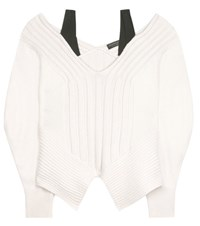 Burberry Wool And Cashmere Off The Shoulder Sweater White