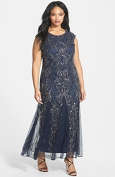 Pisarro Nights Embellished Cap Sleeve Gown Plus Size Navy