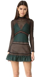 Self Portrait Forest Mini Dress Forest Green