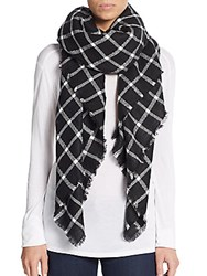Saks Fifth Avenue Windowpane Plaid Scarf Black