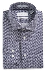 Calibrate Men's Big And Tall Trim Fit Geometric Stretch Dress Shirt Blue Medieval
