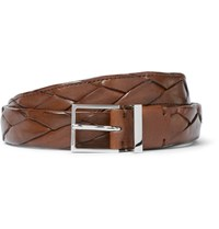 Brunello Cucinelli 2.5Cm Brown Braided Leather Belt Brown