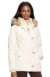 Women's Lauren Ralph Lauren Faux Fur Trim Toggle Closure Quilted Down And Feather Fill Jacket Moda Cream