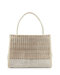 Nancy Gonzalez Wallis Woven Crocodile And Horse Hair Tote Bag Cream Multi Neutral