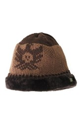 Australia Luxe Collective Knit Genuine Shearling Trim Hat Brown