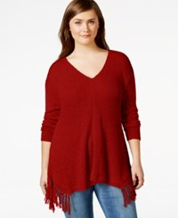 American Rag Plus Size Fringe V Neck Sweater Only At Macy's Zinfindel