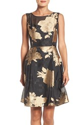 Ellen Tracy Women's Burnout Floral Fit And Flare Dress