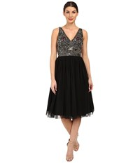 Adrianna Papell Sleeveless Beaded Bodice Tulle Party Dress Black Women's Dress
