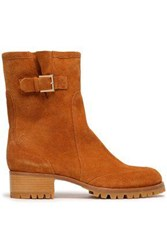 Red V Buckled Suede Ankle Boots Camel