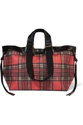 Isabel Marant Wardy Leather Trimmed Tartan Coated Canvas Tote Red
