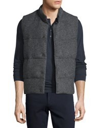 Vince Quilted Wool Blend Vest Dark Gray