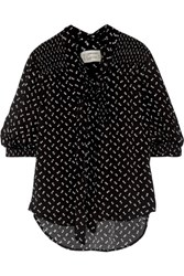 Current Elliott Willow Pussy Bow Floral Print Crepe Blouse Black