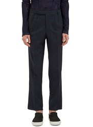 Emiliano Rinaldi Satin Trimmed Straight Leg Pants Grey