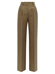Fendi Straight Leg Side Stripe Wool And Silk Trousers Brown Multi