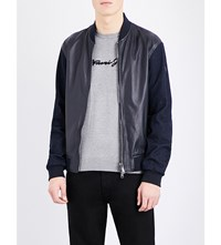 Armani Jeans Denim Sleeve Leather Bomber Jacket Blue