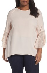 Sejour Plus Size Women's Embroidered Bell Sleeve Blouse Pink Wood