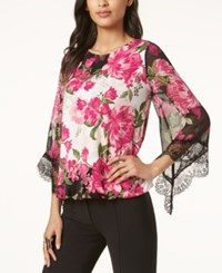 Alfani Petite Printed Lace Trim Top Created For Macy's Pink Blooms