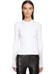 Ermanno Scervino Viscose Blend Knit Sweater W Crystals White