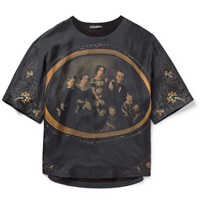 Dolce And Gabbana Printed Silk Satin T Shirt Gray