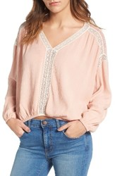 Ella Moss Women's Katella Lace Inset Blouse Powder Pink