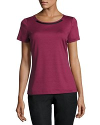Lafayette 148 New York Faux Leather Trim Tee Pomegranat