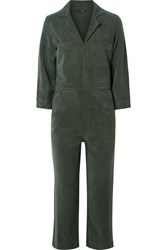 J Brand Traveller Cropped Lyocell Jumpsuit Army Green