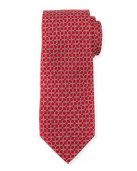 Neiman Marcus Boxed Chain Pattern Silk Tie Red