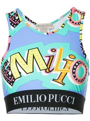 Emilio Pucci Abstract Print Crop Top Blue