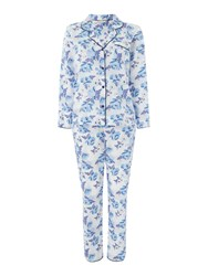 Cyberjammies Ophelia Floral Print Pj Set White And Blue White And Blue