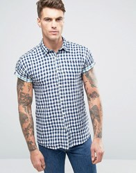 Scotch And Soda Checked Short Sleeve Shirt Navy