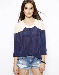 Max C London Max C Two Tone Blouse Navy