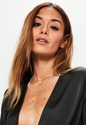 Missguided Gold Layered Pearl And Cross Necklace