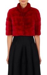 J. Mendel Women's Mink Fur Bolero Jacket Red