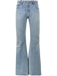 Re Done High Rise Wide Leg Jeans Blue