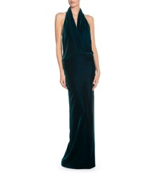 Tom Ford Velvet Open Back Halter Gown Petrol