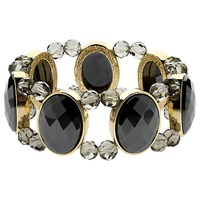 Monet Hematite Stretch Bracelet Gold