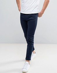 Farah Drake Slim Fit Jeans In Navy Twill Washed Denim Blue
