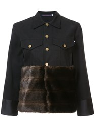 Harvey Faircloth Fur Panel Buttoned Jacket Women Cotton Acrylic Polyester L Black