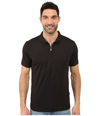Perry Ellis Solid Polo With Zipper Closure Black Men's Short Sleeve Knit