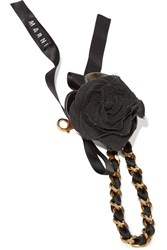 Marni Rose Appliqued Chain And Ribbon Keychain Black